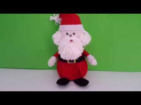 Como fazer um papai Noel reciclável usando potinho de Nutella e tampinha de refrigerante com molde
