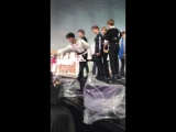 The funny thing about this video is that we have Renjun carefully giving the box to the fans while Lucas just fuckin threw it so