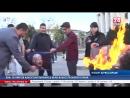 Крымская молодёжь сожгла портреты Трампа, Макрона и Мэй в знак протеста против ракетного обстрела Сирии Отправили в царство Аида