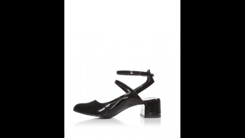 Черные лакированные туфли с ремешком вокруг щиколотки New Look