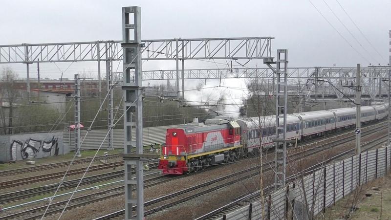 Движуха за 2 минуты М62 с дефектоскопом ТЭМ18 037 с вагонами НЭ паровоз Су250 74 и ЭТ2м 123