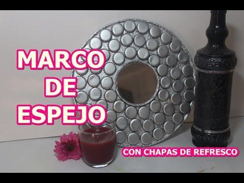 MARCO DE ESPEJO CON CHAPAS DE REFRESCO O CORCHOLATAS