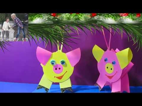 Новогодние поделки своими руками идеи СВИНКИ елочные игрушки из бумаги простые поделки с детьми