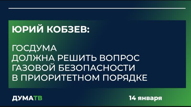 Юрий Кобзев Госдума должна решить вопрос газовой безопасности в приоритетном порядке
