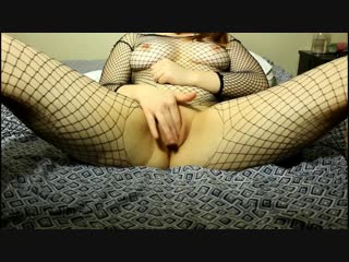 Theredheadedrabbit - redhead sucks, fucks, and rides dildo in fishnets (720p)  [amateur, babe, toys, solo, tits]