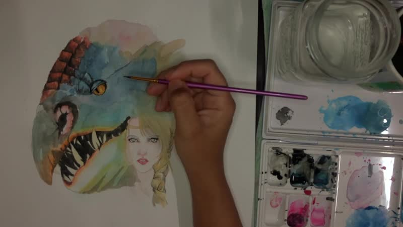 WATERCOLOR - HOW TO PAINT YOUR DRAGON (ASTRID SPEED PAINT)