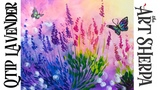 Easy Q-tip painting technique lavender with simple butterfly