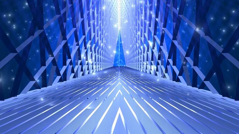 4K Motion Background - Fast Retro Sparkling Blue VJ Tunnel