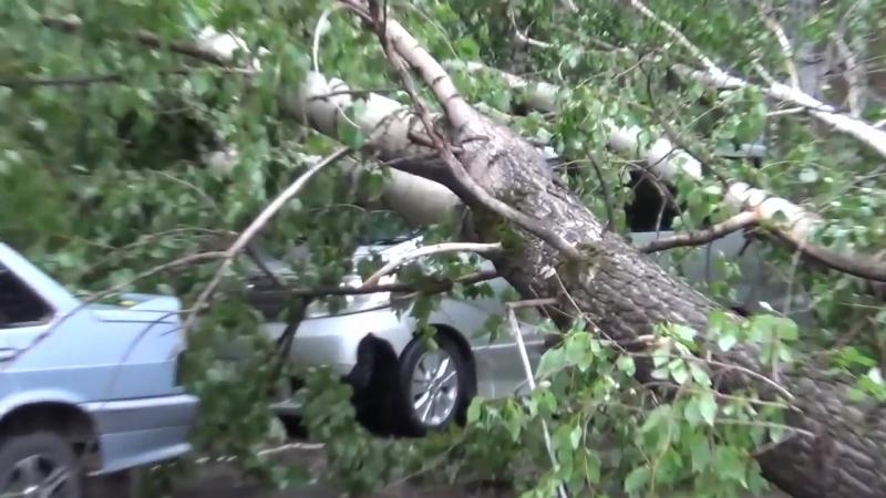 Последствия сильного ветра Лесосибирск машины побило шифером Деревья вывернуло с