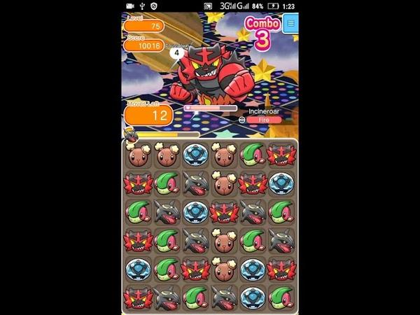 Pokemon Shuffle - Incineroar Escalation Battle 75 lvl