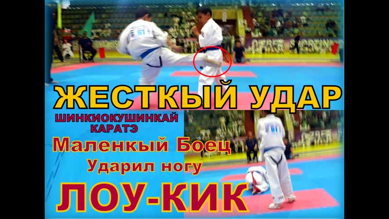 Маленкый Боец Мошный Ударил ногу Лоукик по Каратэ Шинкиокушинкай Чемпионат Узбекистана каратэ