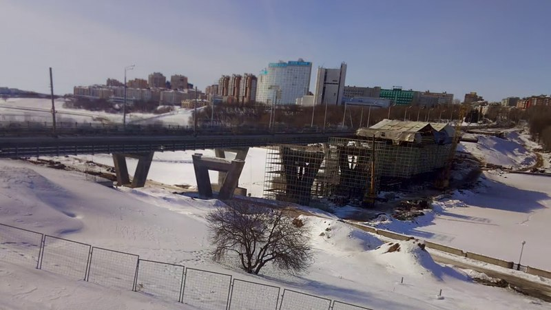 Чебоксары . Строительство Московского моста. Февраль-апрель 2018