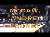 Andre Iguodala, Patrick McCaw and Kevon Looney splashing at practice in Cleveland, day before G4