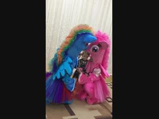 Пони фотографируются на празднике в детском саду