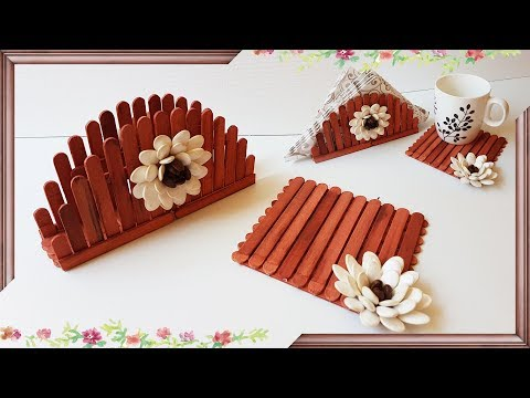 Napkin Holder And Coaster From Sticks And Pumpkin Seeds | Подставка Для Кружки И Салфетница