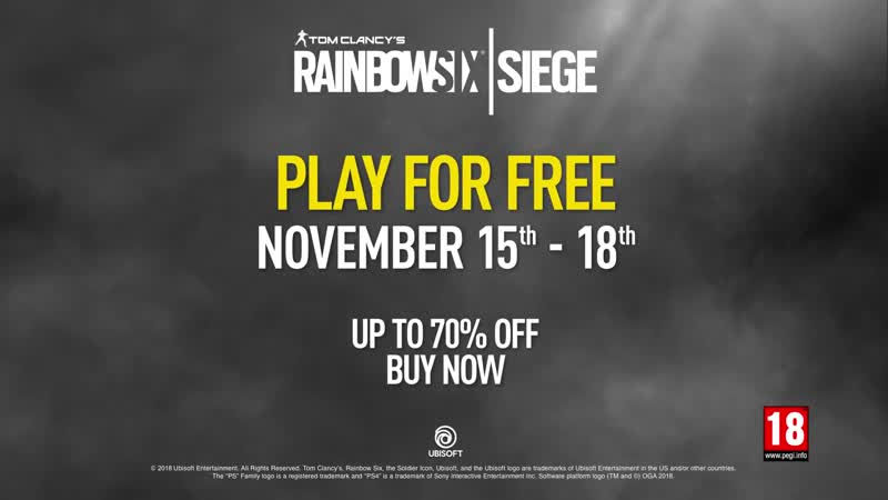 Rainbow Six Siege Play for Free November 15th - 19th PS4