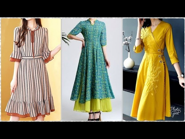 Simple and easy midi dress with Ruffle and easy beautiful kurti designs