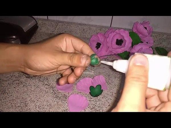 DIY Como fazer a flor Papoula Oriental de eva Com Frisador