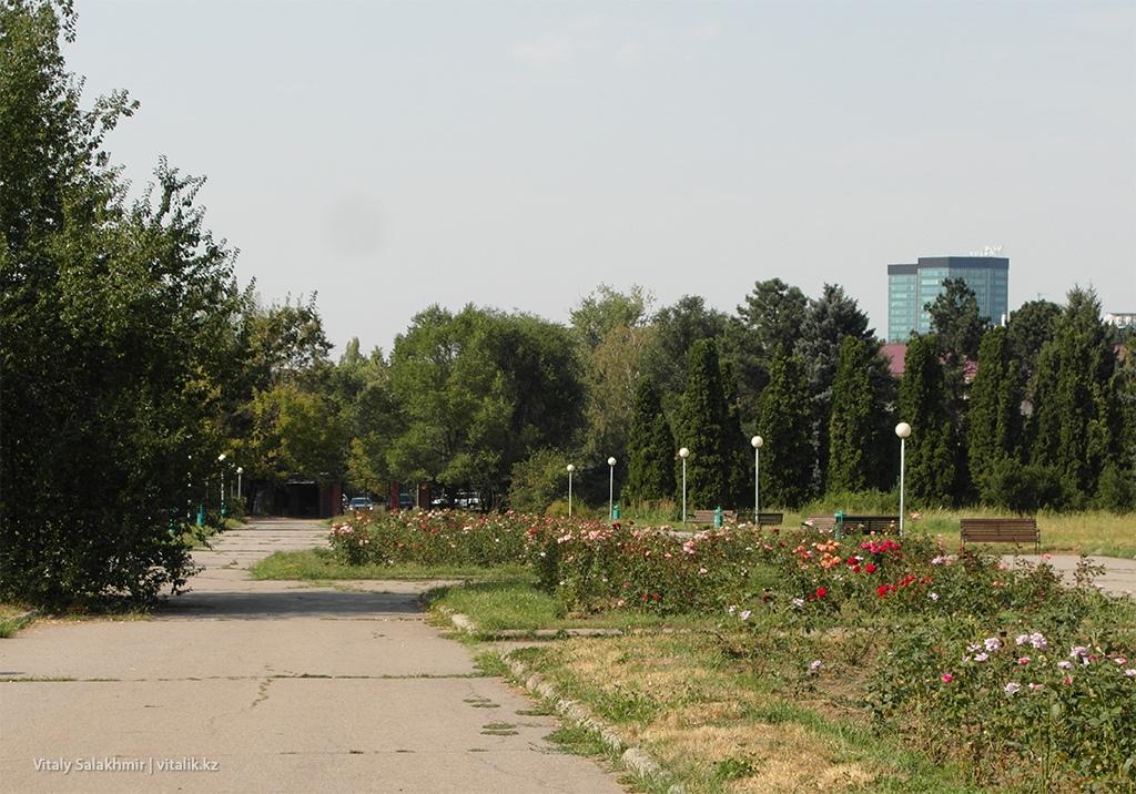 Скамейки и цветники в Ботаническом саду Алматы 2018