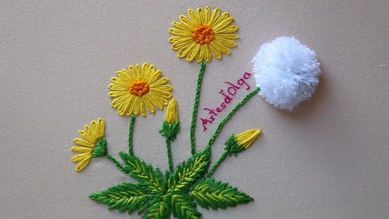 Hand Embroidery Dandelion Flowers | Bordado a mano Flores de diente de león | ArtesdOlga