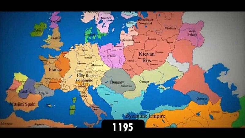 Изменение границ Европы за последнее тысячелетие Интерактивная карта стран