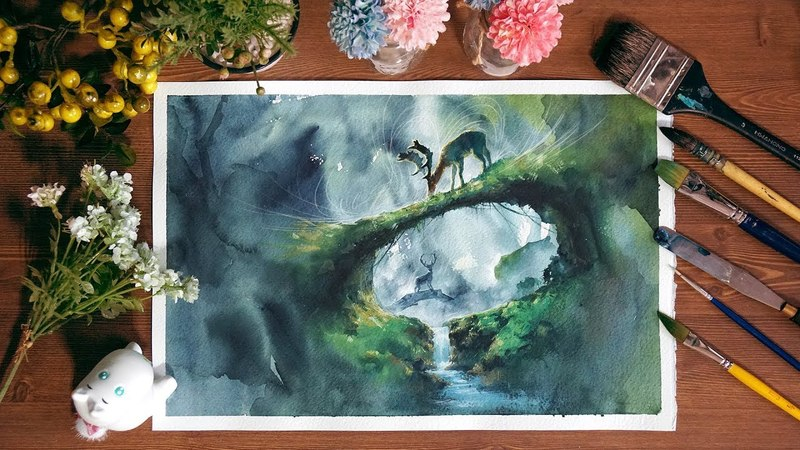 Concept art,watercolor,landscape,painting,drawing,eruda,수채화