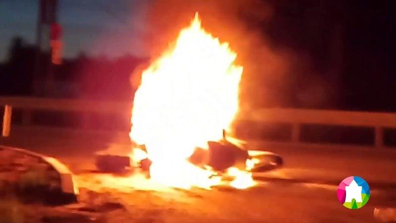 Спортбайк загорелся на ходу на Московском шоссе в Нижнем Новгороде