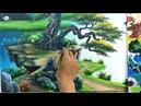 Tranh sơn thủy bản giới thiệu khóa học vẽ tranh tường tại xưởng và online