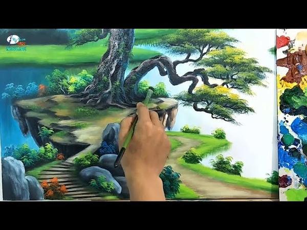 Tranh sơn thủy, bản giới thiệu khóa học vẽ tranh tường tại xưởng và online.