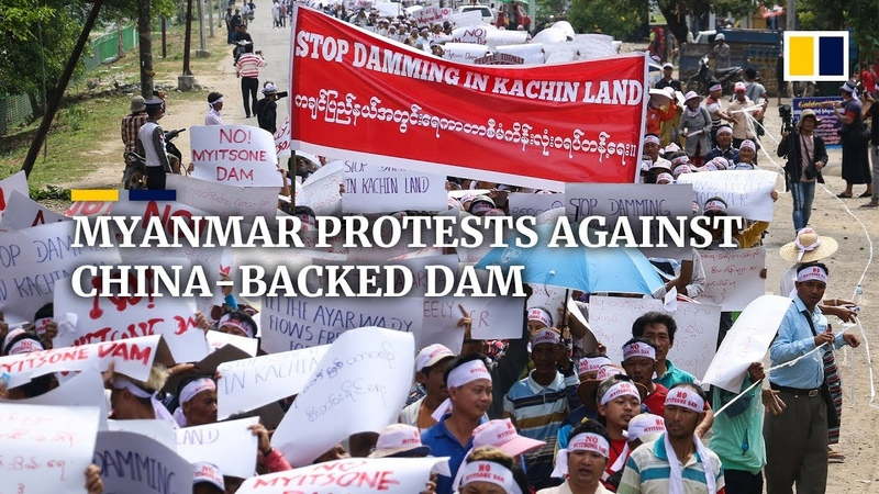 Protest in Myanmar against China-backed Myitsone dam ahead of Aung San Suu Kyi's Beijing trip