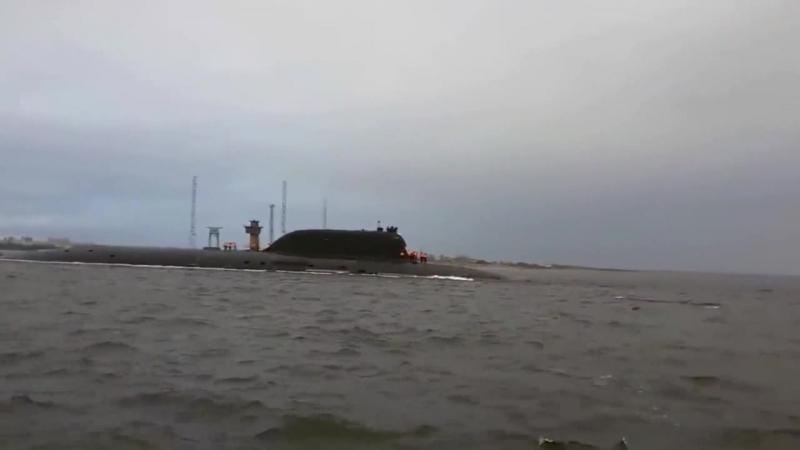 Выход атомной подводной лодки Казань на заводские ходовые испытания
