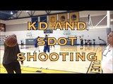 Kevin Durant and Shaun Livingston splashing after practice in Oakland, day before 2018 WCF G4