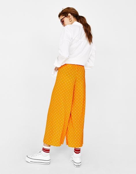 Плиссированные брюки-кюлоты с принтом