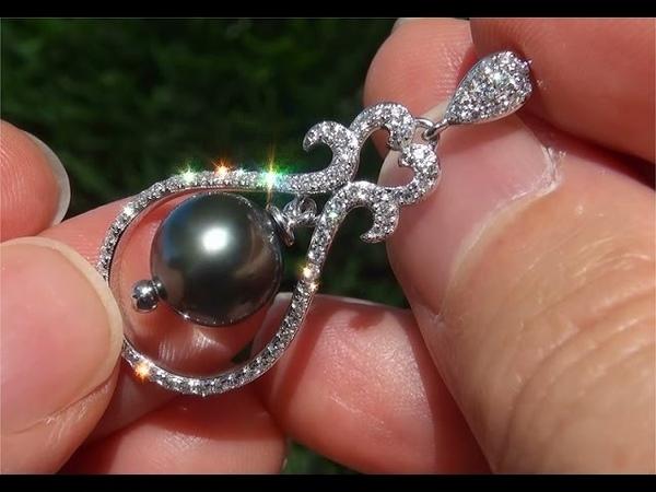 Near Perfect Natural Black Tahitian Pearl Diamond Stud Earrings 14k White Gold - A330