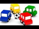 4 coches coloreados juegan al fútbol Dibujos animados español