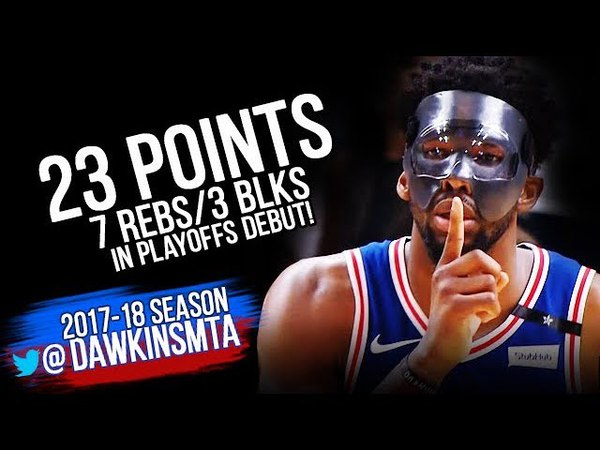 MASKED Joel Embiid Playoffs DEBUT 2018 ECR1 GM3 76ers vs Heat - 23-3 Blks! | FreeDawkins