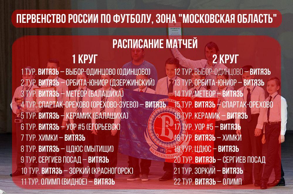 Расписание игр Первенства России по футболу, зона «Московская область»