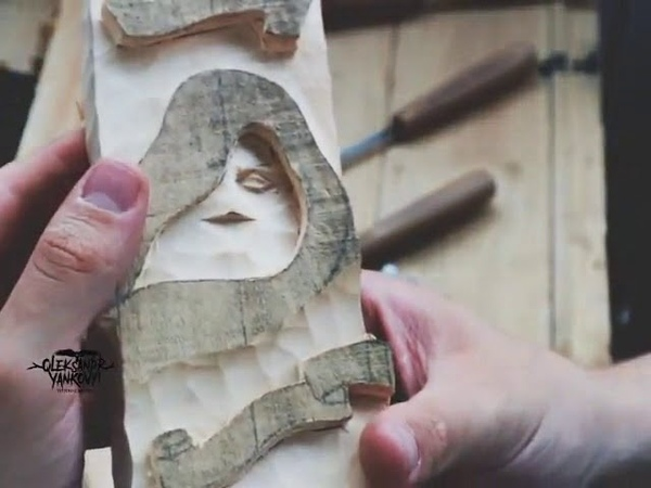 Odin statue, wood carving timelapse