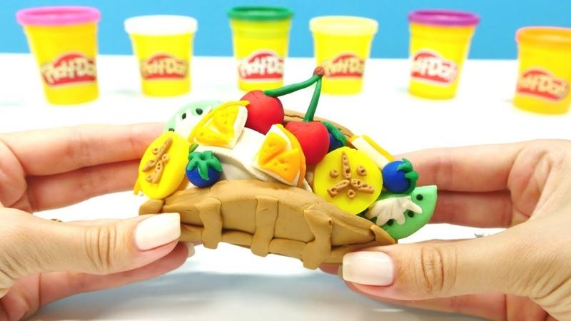 Wir machen aus Knete Waffeln. PlayDoh Schule für Kinder
