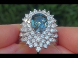 GIA Certified UNHEATED VVS Natural Blue Sapphire Diamond 14k White Gold Engagement Ring - A141530
