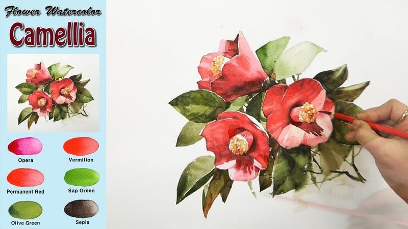 동백꽃 - 꽃 풍경수채화그리기 (wet-in-wet. Arches)[남일수채화] Camellia - Flower watercolor