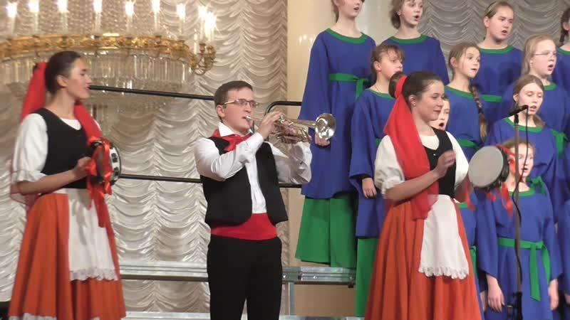 Неаполитанская песенка. Старший хор и Маша с партией бубна)
