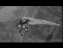 Students of a naval parachute jumping school jump from a blimp while in flight Stock Footage