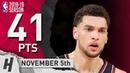 Zach LaVine CAREER-HIGH Highlights Bulls vs Knicks 2018.11.05 - 41 Pts, 4 Ast, 4 Rebounds!