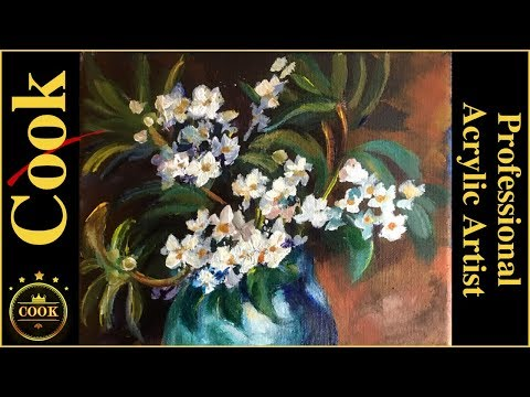 One Brush Stroke Flowers In A Blue Ceramic Vase a Ginger Cook Acrylic Painting Tutorial