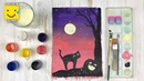 Рисуем черную кошку на хэллоуин поэтапно