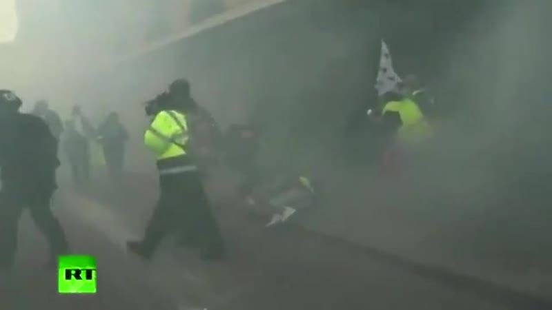 протестующие в Париже задыхаются от слезоточивого газа, который применила полиция