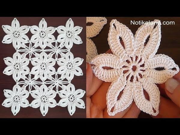 Crochet flower tutorial How to join motifs