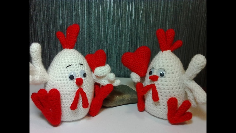 Валентинка-петушок. Valentine's cockerel. Amigurumi. Crochet. Амигуруми. Игрушки крючком.