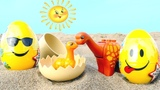 Toy dinosaurs &amp Surprise Eggs in the sand.